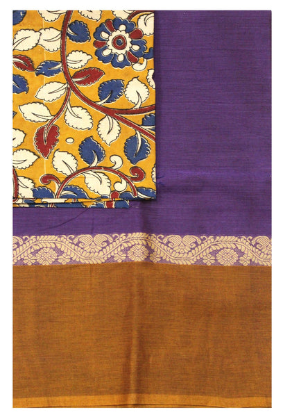 Chettinadu pure cotton saree with Small traditional temple border and attached blouse (30479A)
