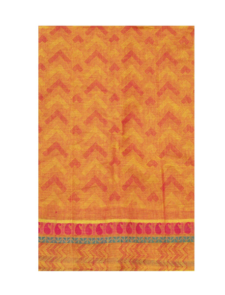 Chettinadu pure cotton self-design saree with a beautiful border pattern (attached blouse) - 30380A