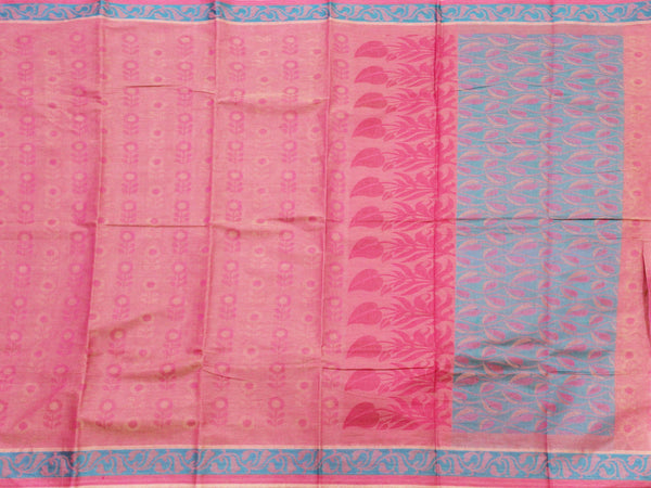 Chettinadu pure cotton with a beautiful self-design and border (Attached blouse) - 30381A