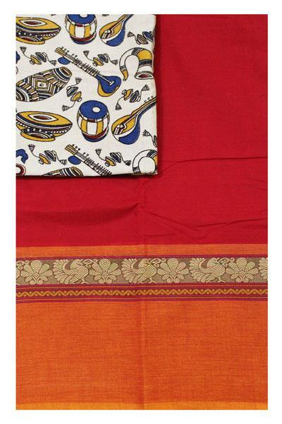 Chettinadu pure cotton saree with a Kalamkari designer blouse material (30395A)