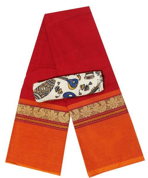 Chettinadu cotton saree with a Kalamkari designer blouse material (30395A), Sarees - Swadeshi Boutique