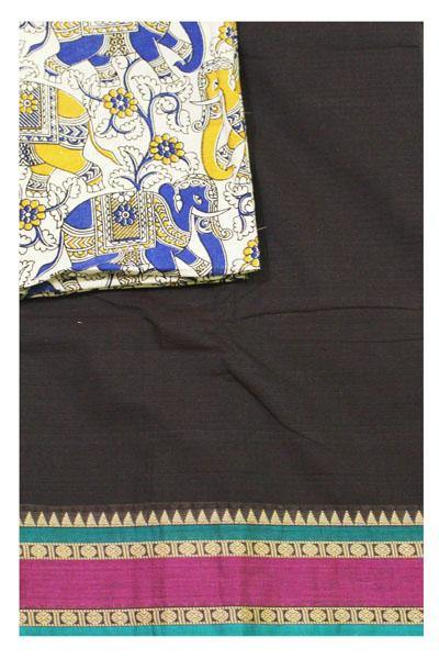 * Mega Sale * Chettinad Handloom pure cotton saree with a Kalamkari designer blouse material (30400A)