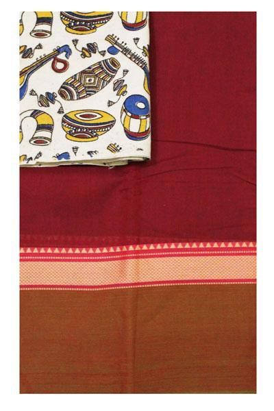 Chettinad handloom cotton saree with a Kalamkari blouse material (30405A), Sarees - Swadeshi Boutique