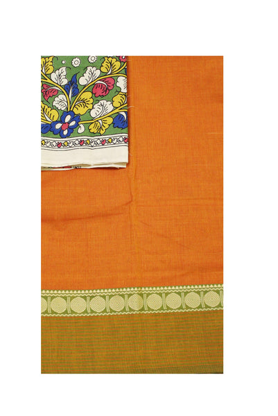 Chettinad pure cotton saree with a Kalamkari designer blouse material (30409A)