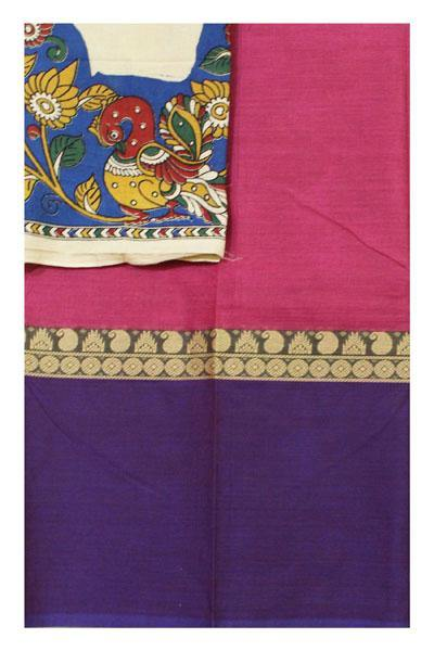 Chettinadu cotton saree with a Kalamkari blouse material (30421A) * 60% Off sale*, Sarees - Swadeshi Boutique