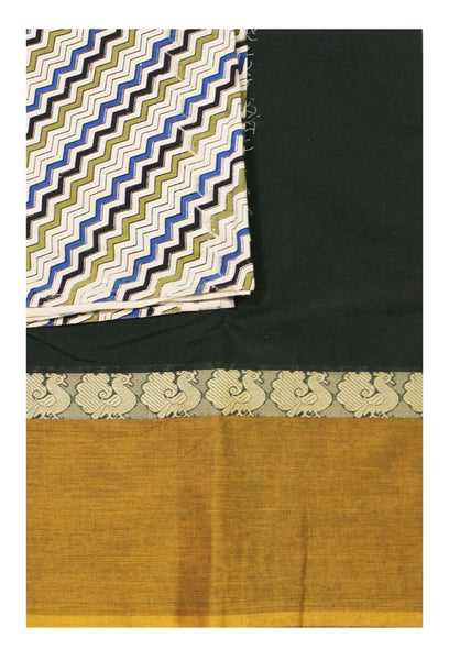 Chettinad pure cotton saree with a Kalamkari designer blouse material (30424A)