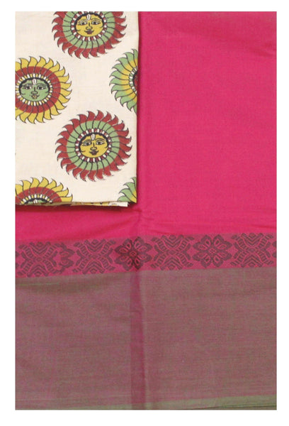 Chettinad pure cotton saree with a Kalamkari designer blouse material (30428A)