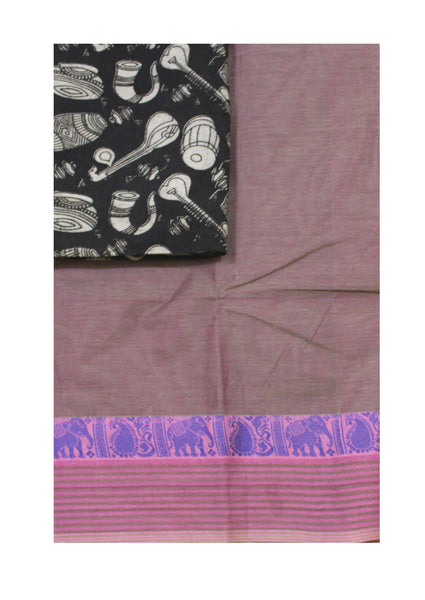 Chettinadu pure cotton saree with a Kalamkari designer blouse material (30430A)