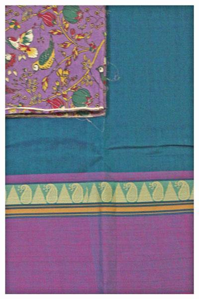 Chettinad pure cotton saree with a Kalamkari blouse material (30444A) * 40% Off sale*, Sarees - Swadeshi Boutique