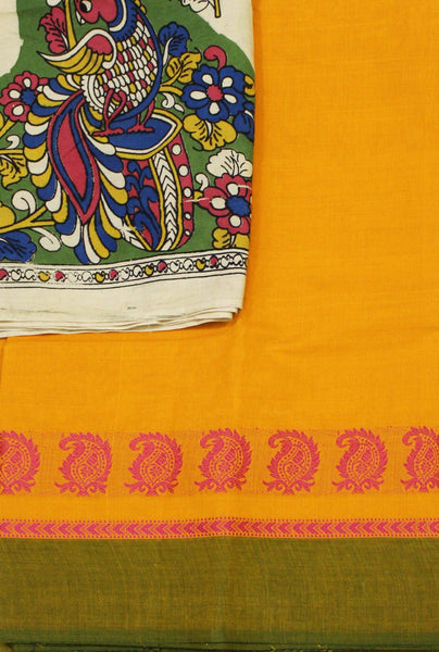 Chettinadu pure cotton saree with a Kalamkari designer blouse material (30456A)