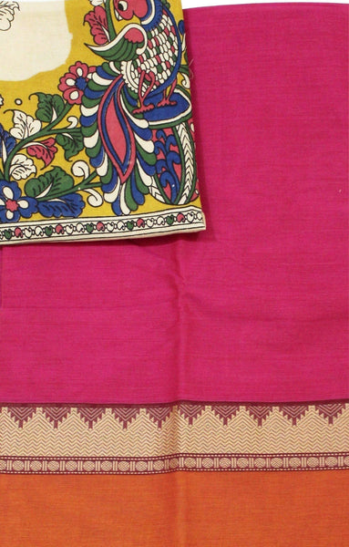 Chettinadu Handloom pure cotton saree with a Kalamkari designer blouse material (30457A)