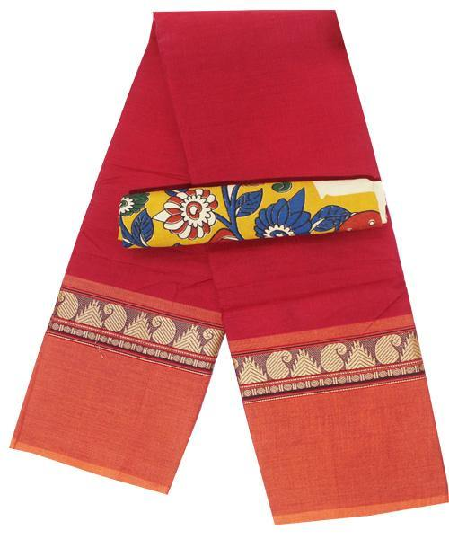 Chettinadu handloom cotton saree with a Kalamkari blouse material (30467A), Sarees - Swadeshi Boutique