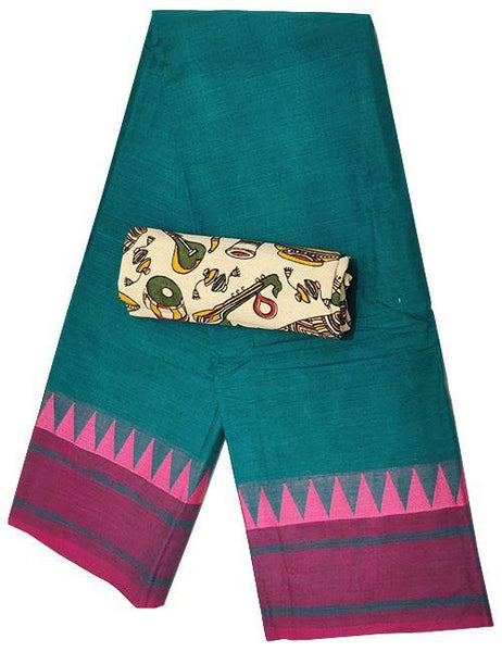 Chettinad handloom cotton saree with temple border +Bonus Kalamkari Blouse (30470E), Sarees - Swadeshi Boutique