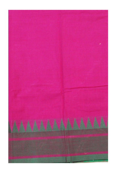 Chettinadu pure cotton saree with Small traditional temple border and attached blouse (30470B)