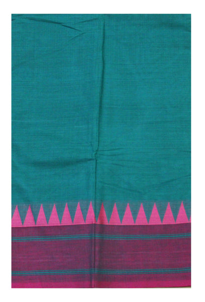 Chettinad pure cotton saree with Small traditional temple border and attached blouse (30470E)