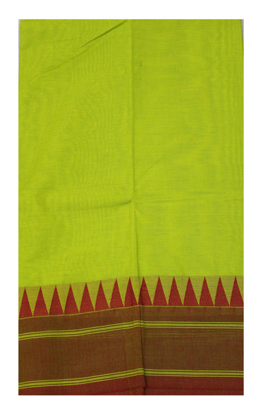 Chettinad Handloom pure cotton saree with traditional temple border and attached blouse (30470G)