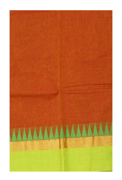 Chettinadu Handloom pure cotton saree with Small traditional temple border and attached blouse (30478A)