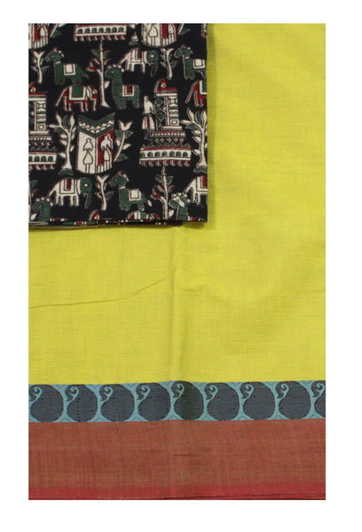 Chettinadu pure cotton saree with a Kalamkari designer blouse material (30484A)