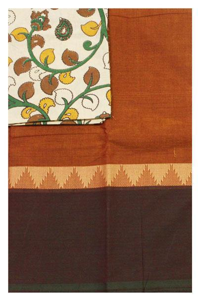 Chettinadu Handloom cotton saree with a Kalamkari designer blouse material (30487A), Sarees - Swadeshi Boutique