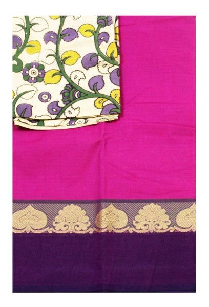 Chettinadu pure cotton saree with a Kalamkari designer blouse material (30490A)