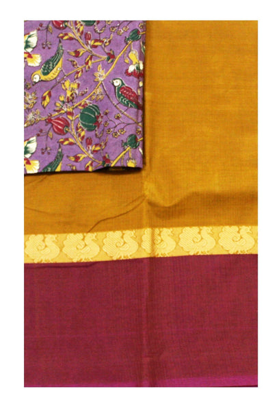 Chettinadu Handloom pure cotton saree with a Kalamkari designer blouse material (30494A)