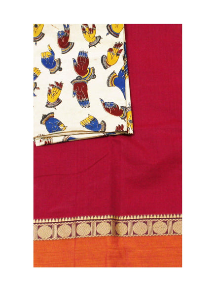 Chettinadu pure cotton saree with a Kalamkari designer blouse material (30520A)