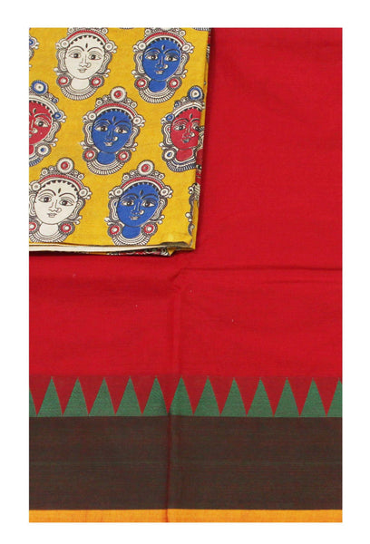 Chettinadu pure cotton saree with a Kalamkari designer blouse material (30521A)