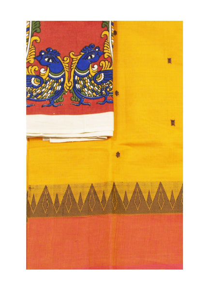 Chettinadu pure cotton saree with with putta all over body and a Kalamkari designer blouse material (30531A)