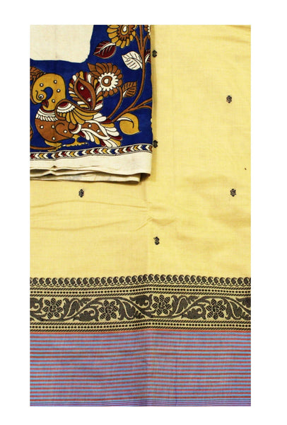 Chettinadu pure cotton saree with putta all over body and  a Kalamkari designer blouse material (30534A)