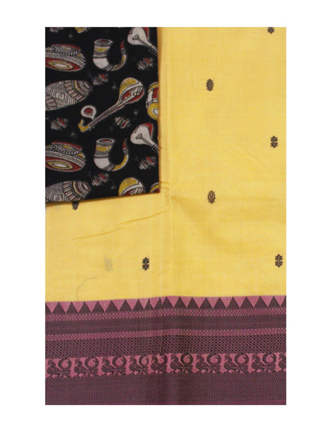 Chettinadu pure cotton saree with putta all over body and a Kalamkari designer blouse material (30536A)