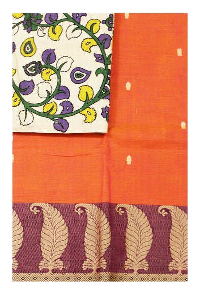 Chettinadu pure cotton saree with putta all over body and a Kalamkari designer blouse material (30544A)