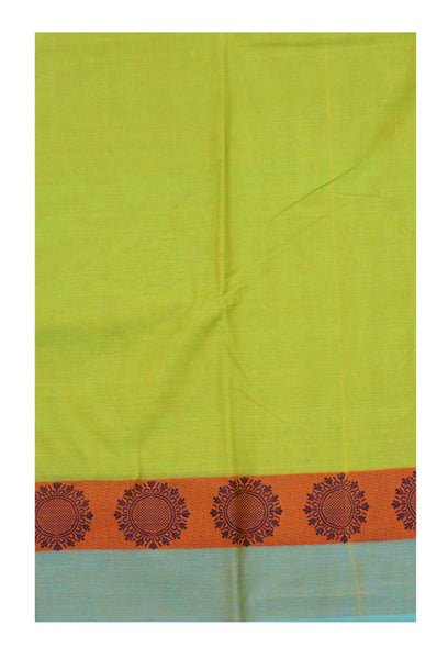 Chettinadu Handloom pure cotton saree with Sunflower border and attached blouse (30546A)