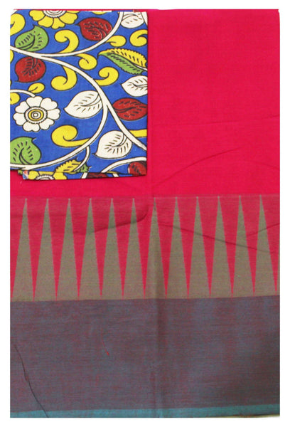 Chettinad handloom cotton saree with traditional temple border and attached blouse  + Bonus Kalamkari blouse (30547F)