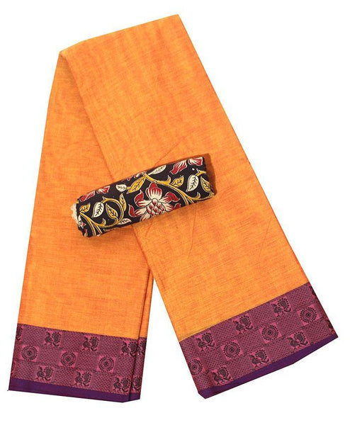 Chettinad Handloom pure cotton saree with Small Peacock border and attached blouse (30548A), Sarees - Swadeshi Boutique