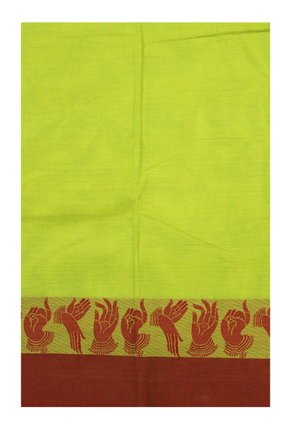 Chettinad pure cotton saree with Hand Mudhras border and attached blouse (30550A)