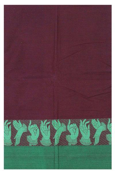 Chettinad pure cotton Handloom saree with Hand Mudhras border and attached blouse (30550B)