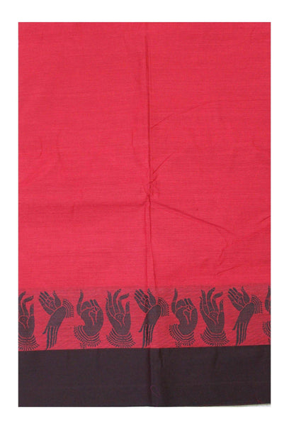 * Rs. 250 Off * Chettinad pure cotton Handloom saree with Hand Mudhras border and attached blouse (30550K)