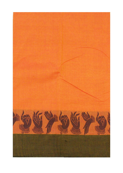 Chettinad pure cotton saree with Hand Mudhras border and attached blouse (30550P)