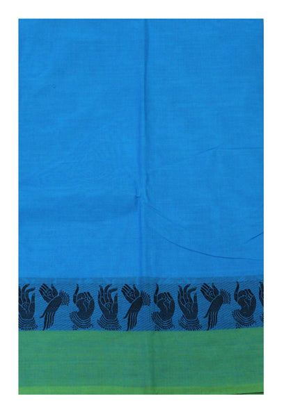 Chettinad pure cotton saree with Hand Mudhras border and attached blouse (30550R)