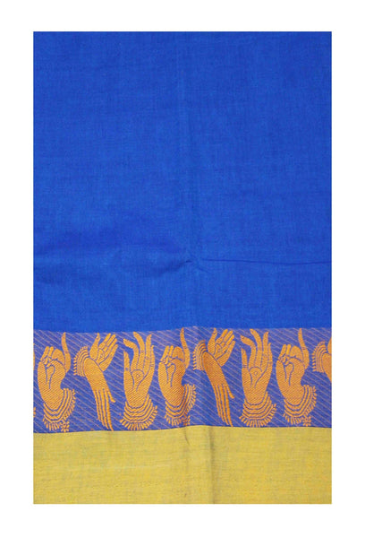 Chettinad pure cotton handloom saree with Hand Mudhras border and attached blouse (30550T)
