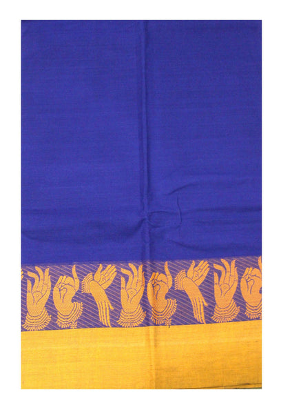Chettinad pure cotton saree handloom with Hand Mudhras border and attached blouse (30550V)