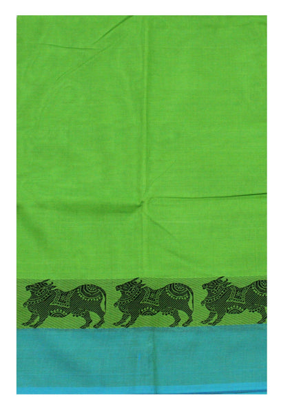 Chettinadu pure cotton Handloom saree with Cows in border and attached blouse (30551B)