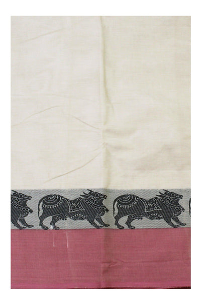Chettinad pure cotton saree with Cows in border and attached blouse (30551D)