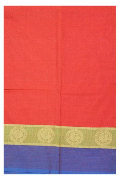 Chettinad cotton handloom saree with Peacock border and a blouse (30556A), Sarees - Swadeshi Boutique
