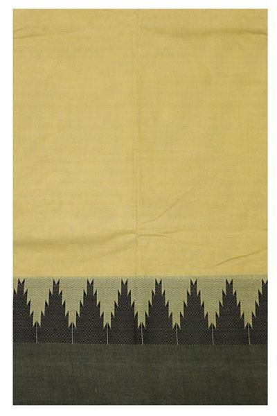 Chettinad pure cotton Handloom saree (Kerala style) with Small traditional temple border and attached blouse (30557A)