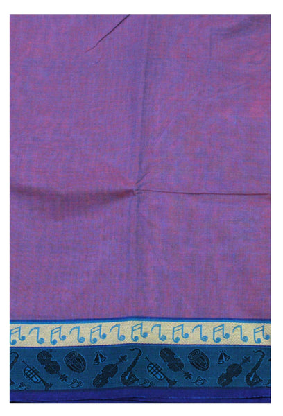 Chettinadu pure cotton Handloom saree with Small Music Instruments in border and attached blouse (30560A)