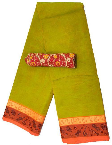 Chettinad cotton Handloom saree with Musical Instruments  blouse (30560C), Sarees - Swadeshi Boutique