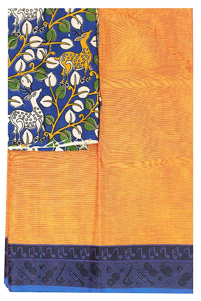 Chettinad cotton handloom saree with musical Instruments and blouse + Bonus kalamkari blouse 30560H), Sarees - Swadeshi Boutique