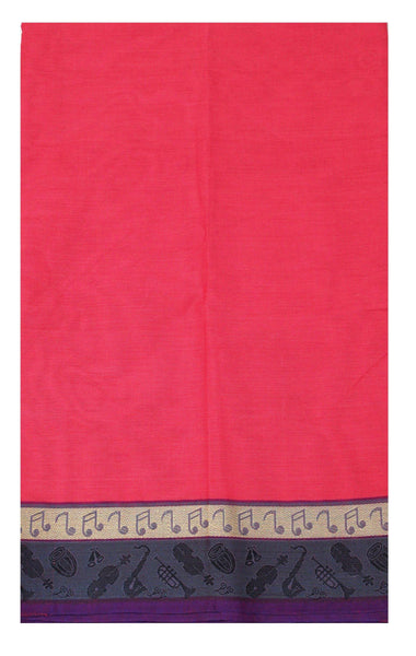 * Rs.200 Off * Chettinadu pure cotton Handloom saree with Small Music Instruments in border and attached blouse (30560G)