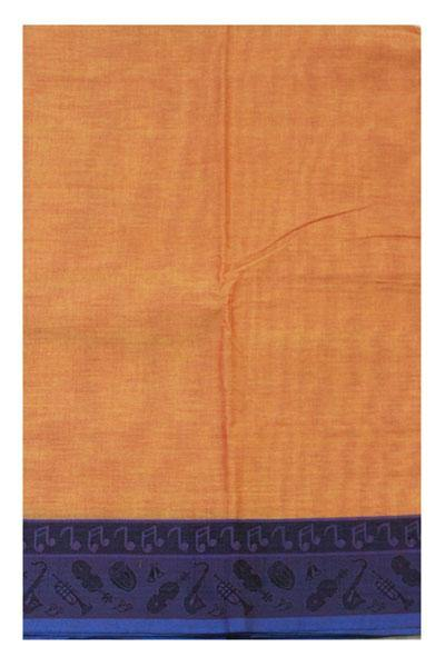 Chettinad pure cotton Handloom saree with Small Music Instruments in border and attached blouse (30560H)
